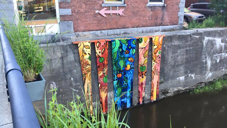 River Banners: by arts instructor at Vermont College of Fine Arts, William Contino, with help from students