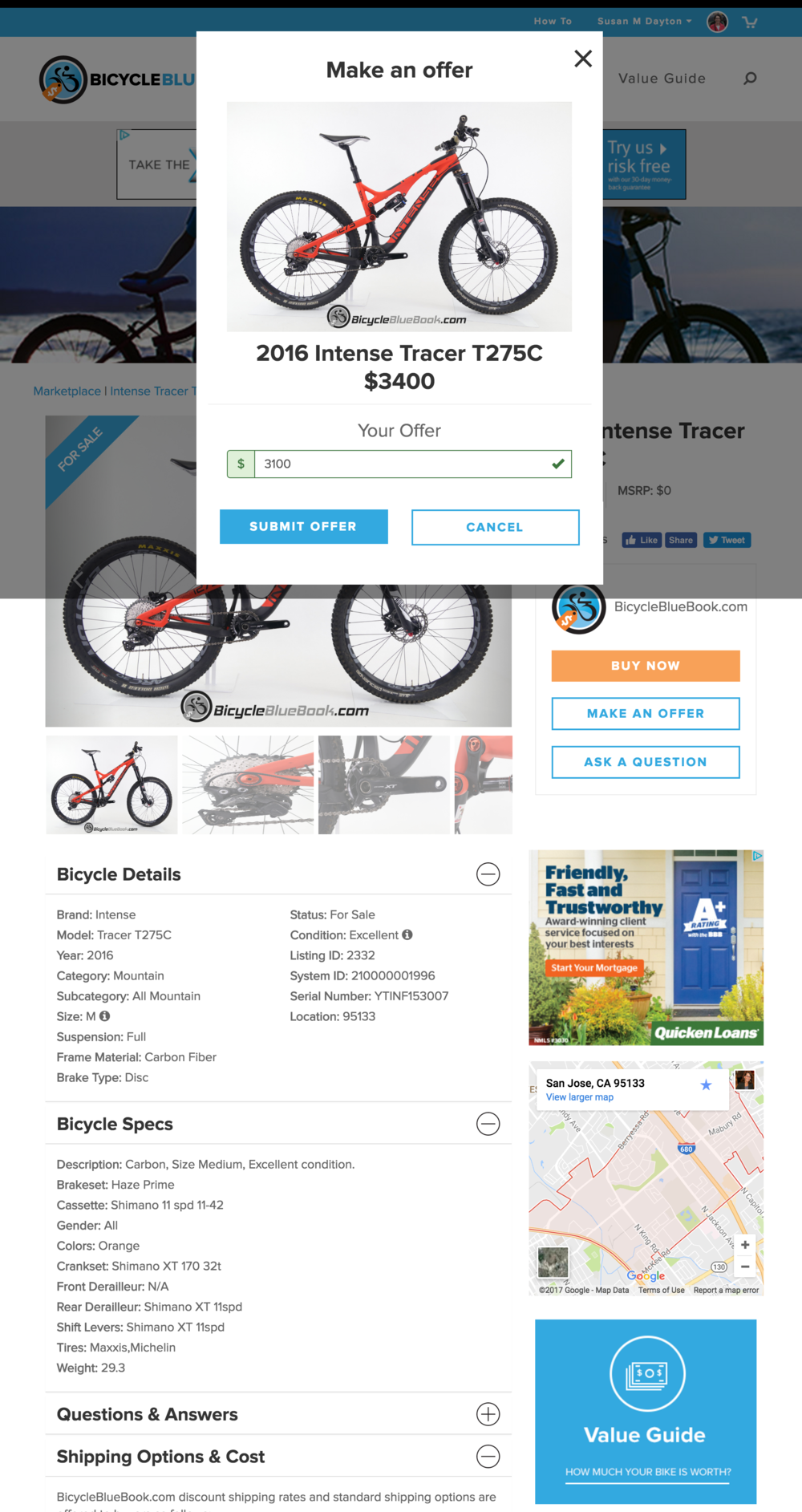 Bike Details for listing with Offer modal