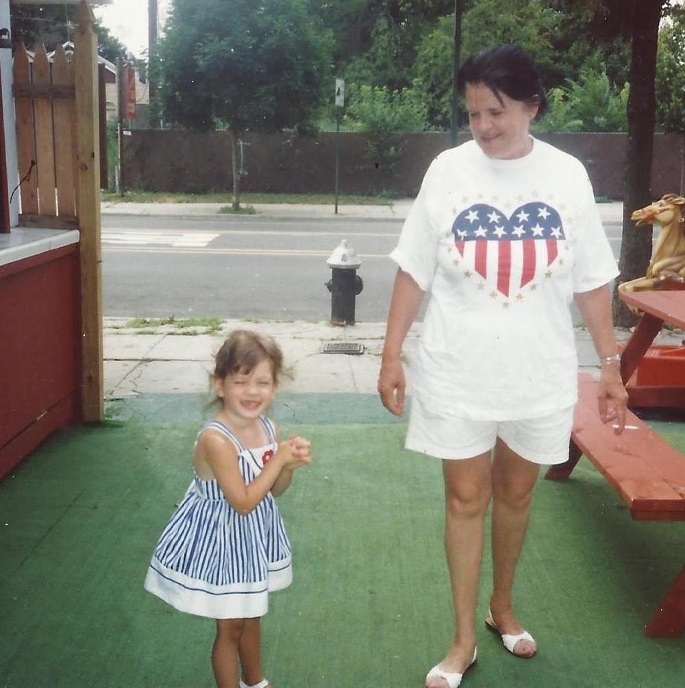 My grandma and I at my aunt's ice cream shoppe in City Island, 4th of July, 1990