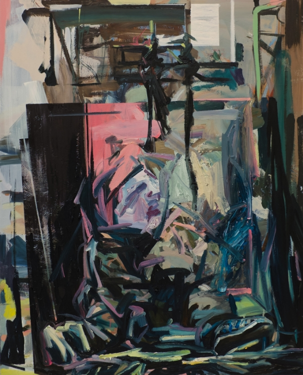 Confined, 2015, oil on wood, 60in x 48in