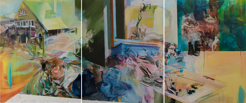 All My Possessions Inside, 2016, acrylic and oil on wood, 58in x 144in