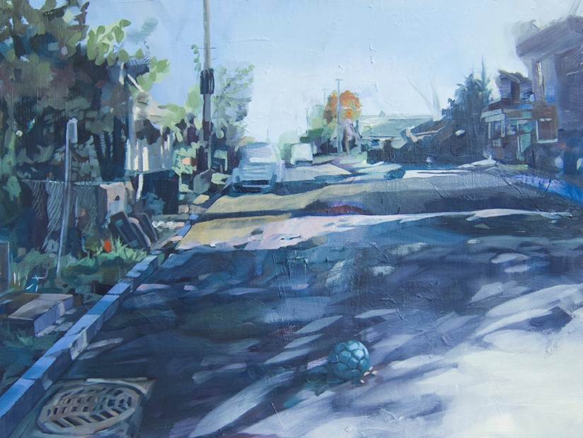 Light, Things, Shadows and the Street, 2019, oil on wood, 18in x 24in