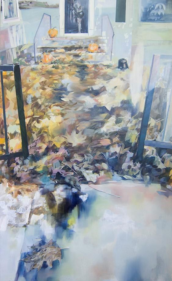 Uninvited, 2019, oil on wood, 36in x 60in