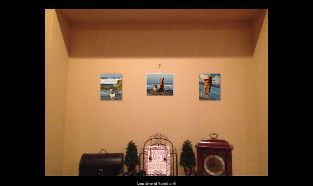 She assumed three 8x10 prints would look good on this wall so we simulated it. She was surprised to see they're just too small. Generally,8x10 is a great desktop print size, but too small for most walls.