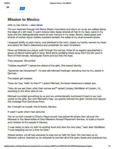 Mission to Mexico