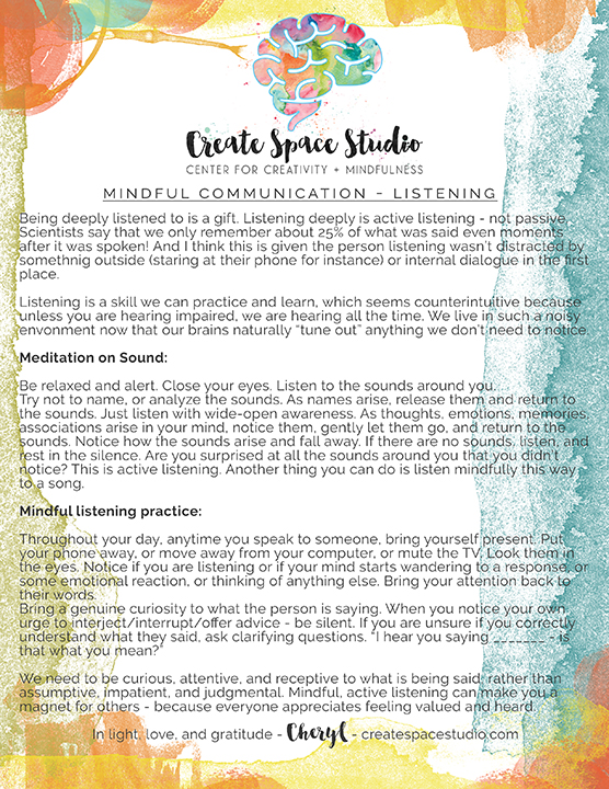 mindful listening - Mindful Monday practice for this week. createspacestudio