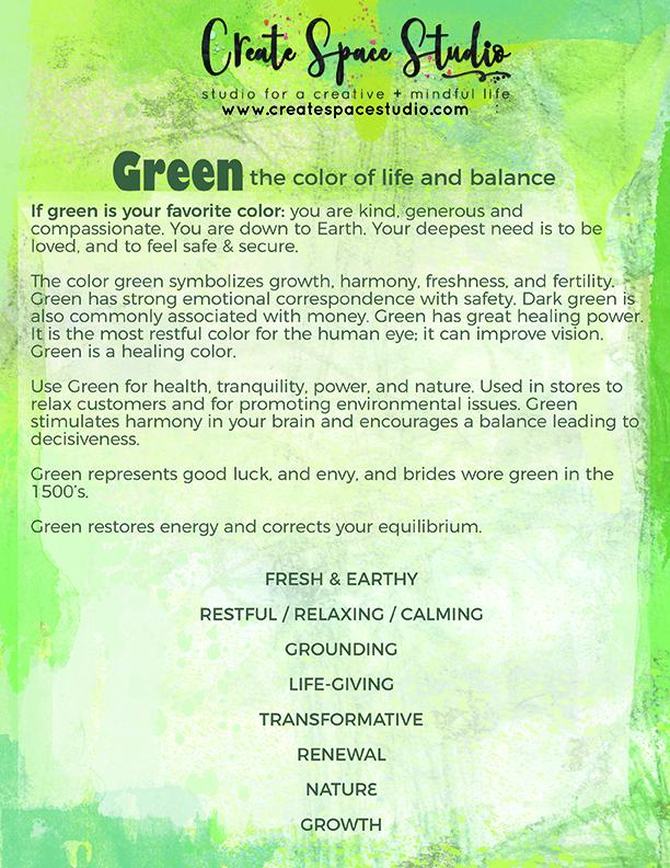 GREEN - color meditations at createspacestudio.com