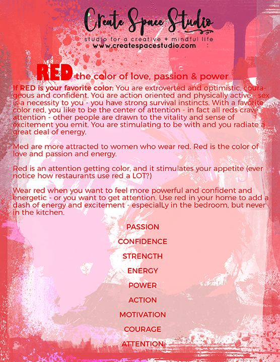 RED - this week's color meditation from createspacestudio.com