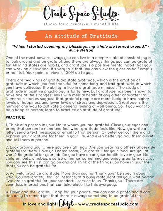 This weeks mindfulness practice: An Attitude of Gratitude by Cheryl Sosnowski at createpsacestudio.com