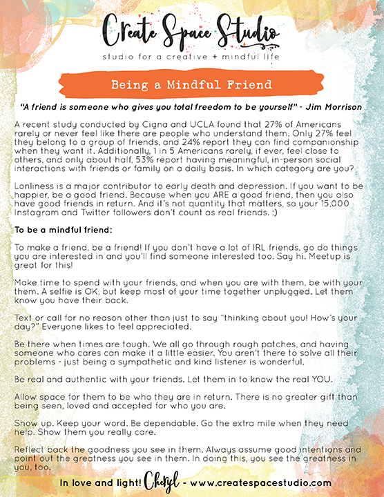 How to be a MIndful Friend - weekly mindfulness practices fro real life from Cheryl Sosnowski at createspacestudio.com