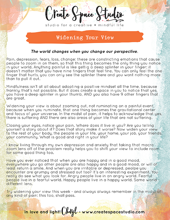 Widening Your View - this week's mindfulness practice from Cheryl Sosnowski at www.createspacestudio.com