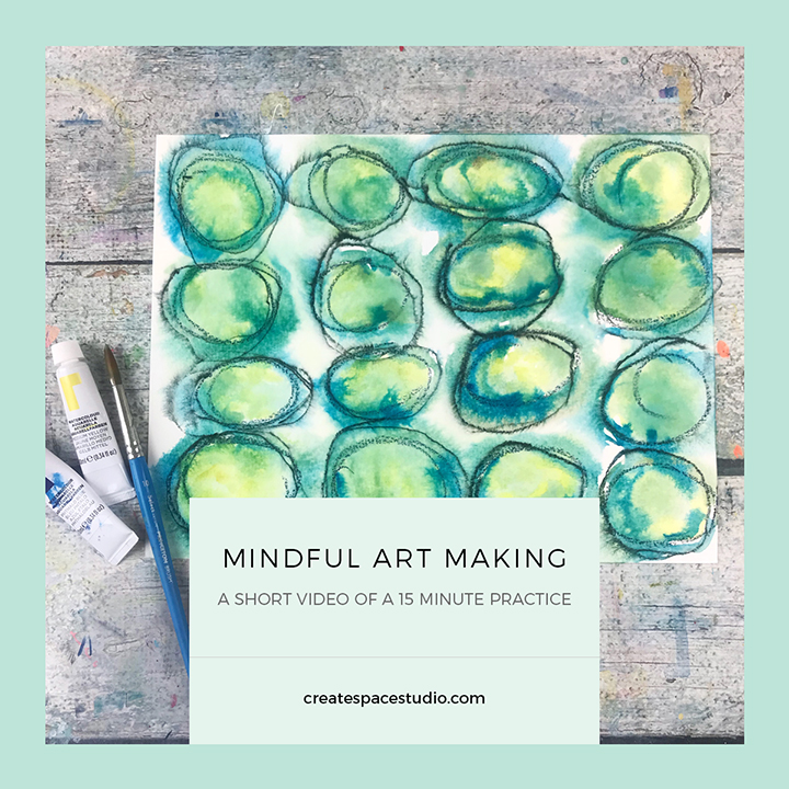 Mindful Art Making - a simple abstract mindful art project that takes 15 minutes by Cheryl Sosnowski at createspacestudio.com