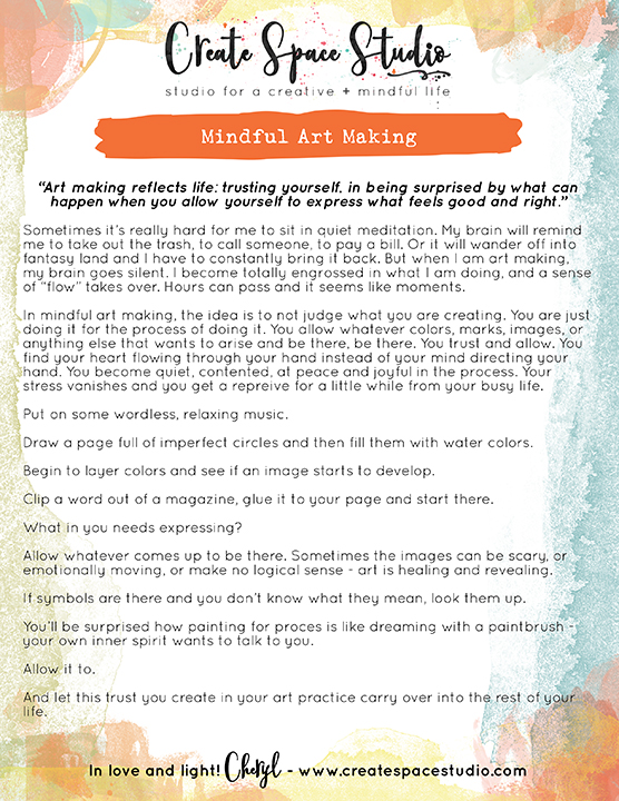 Mindful art making - this week's mindfulness practice by Cheryl Sosnowski createspacestudio.com