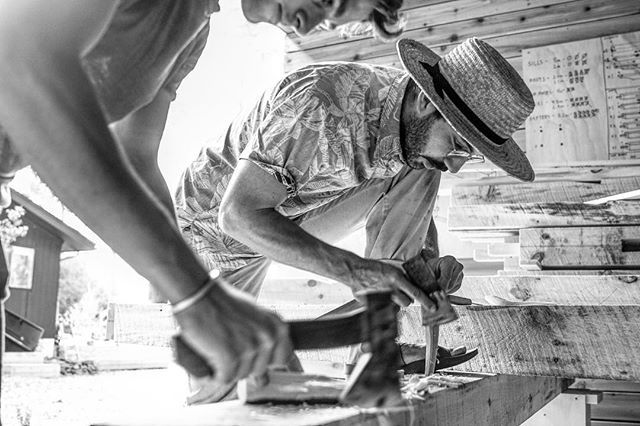 @tombonamici and @finnharries - Making the finishing touches before raising the Timber frame #timberframing #craftsmen #woodworking #hipster #therealdeal #silverhollowcabin #makersjourney