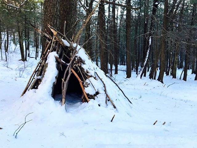 Shelter is still standing after several snow storms #silverhollowcabin