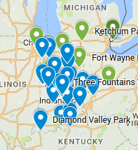 Map of Kinetic Recreation's completed projects
