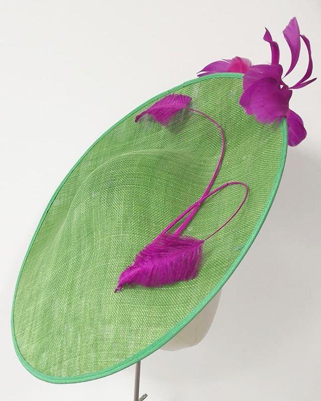 Some colour needed on a cold day! #tbt #sineadharringtondesigns. Available for #hathire #hathireireland from www.harringtonhats.com. #hatroom #racingstyle #goodwoodstyle #bighats #royalascotstyle #ladiesday #millinery  #milliner #hatmaker #weatingirish #cheltenham #weddingoutfit #weddingguestoutfit. @pippyki