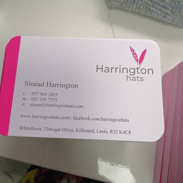 Well it's official then, business cards have arrived! Harrington Hats new studio in Killenard, Co. Laois. If you are looking for hat or headpiece for a day racing or a wedding call to book an appointment. I have over 350 hats & headpieces in stock. Postal service available for Ireland & UK.  #laoistoday #racinghats #racingstyle #punchestown #punchestownfestival #cheltenham #goldcup #ladiesdayfashion #worldracingfashion #curraghchase #galwayraces #dubaiworldcup #fashionblogger #hatacademy #wearingirish #milliner #philiptreacy #janetaylormillinery #viviensheriff #carolkennellymillinery #julienmacdonald #racheltrevormorgan #weddingguestoutfit  #hathireuk #hathireireland #bespokehats #sineadharringtondesigns #millinery #millinerycouture