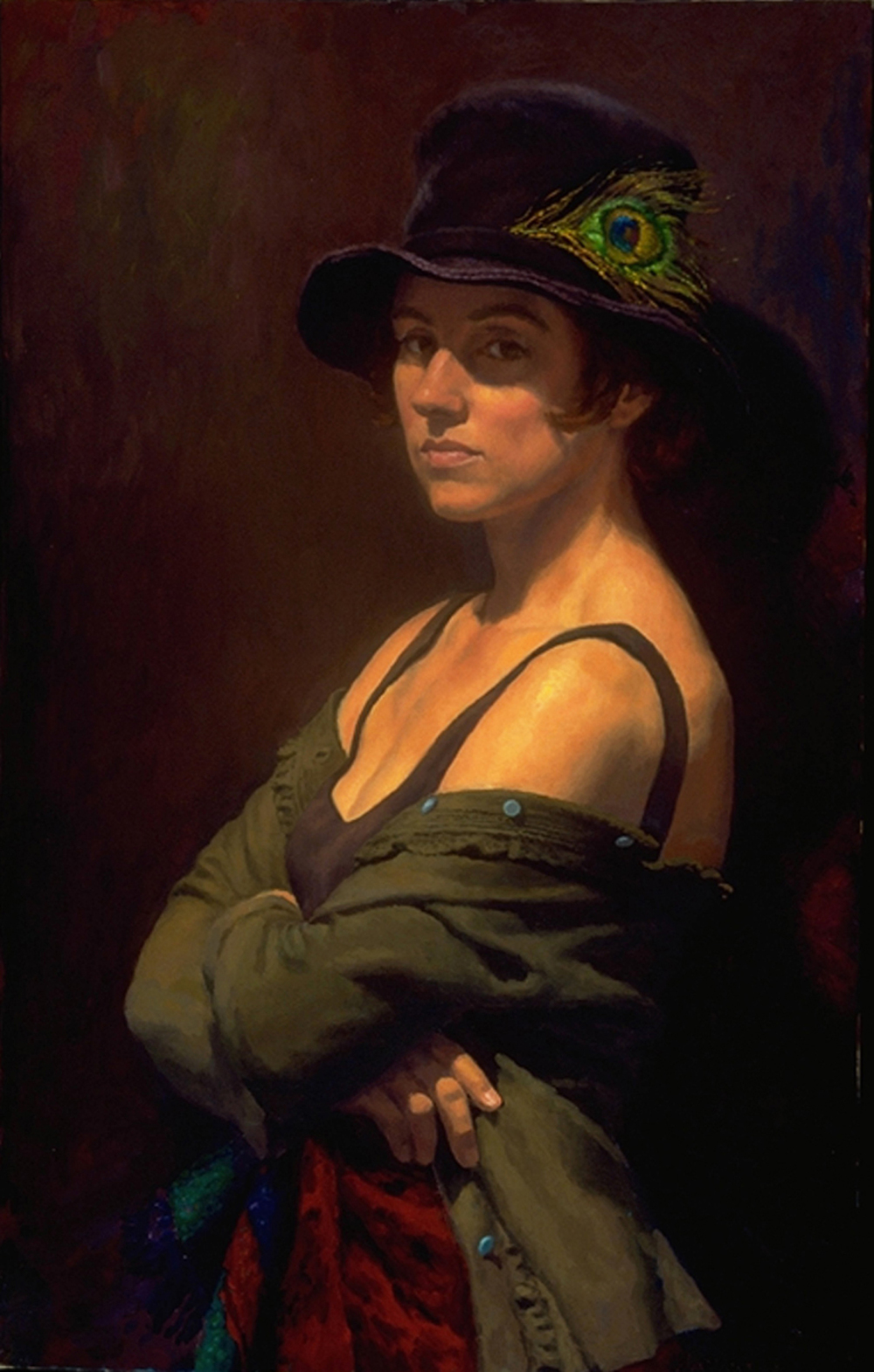 "Gilda with Hat  1999 Oil on Canvas 32""x30"""