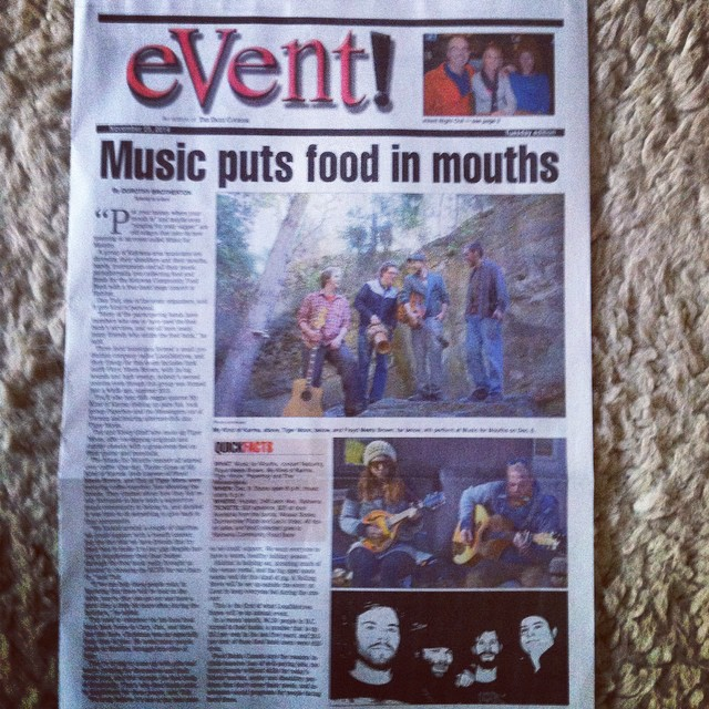 "Front Page of eVent Magazine y'all! Hey #Kelowna - #MusicForMouths is goin down Dec. 6th with our buddies #MyKindOfKarma, #FloydMeetsBrown and #PaperboyAndTheMessengers in a ""four band mega concert."" $20 for an early ticket at #DunnenziesPizza, #LeosVideo and #MosaicBooks - all proceeds are going to the #KelownaCommunityFoodBank!    Check out the full article online here:  http://www.kelownadailycourier.ca/entertainment/article_7756c98c-7413-11e4-b1e9-eba55984aacf.html  (at High House)"