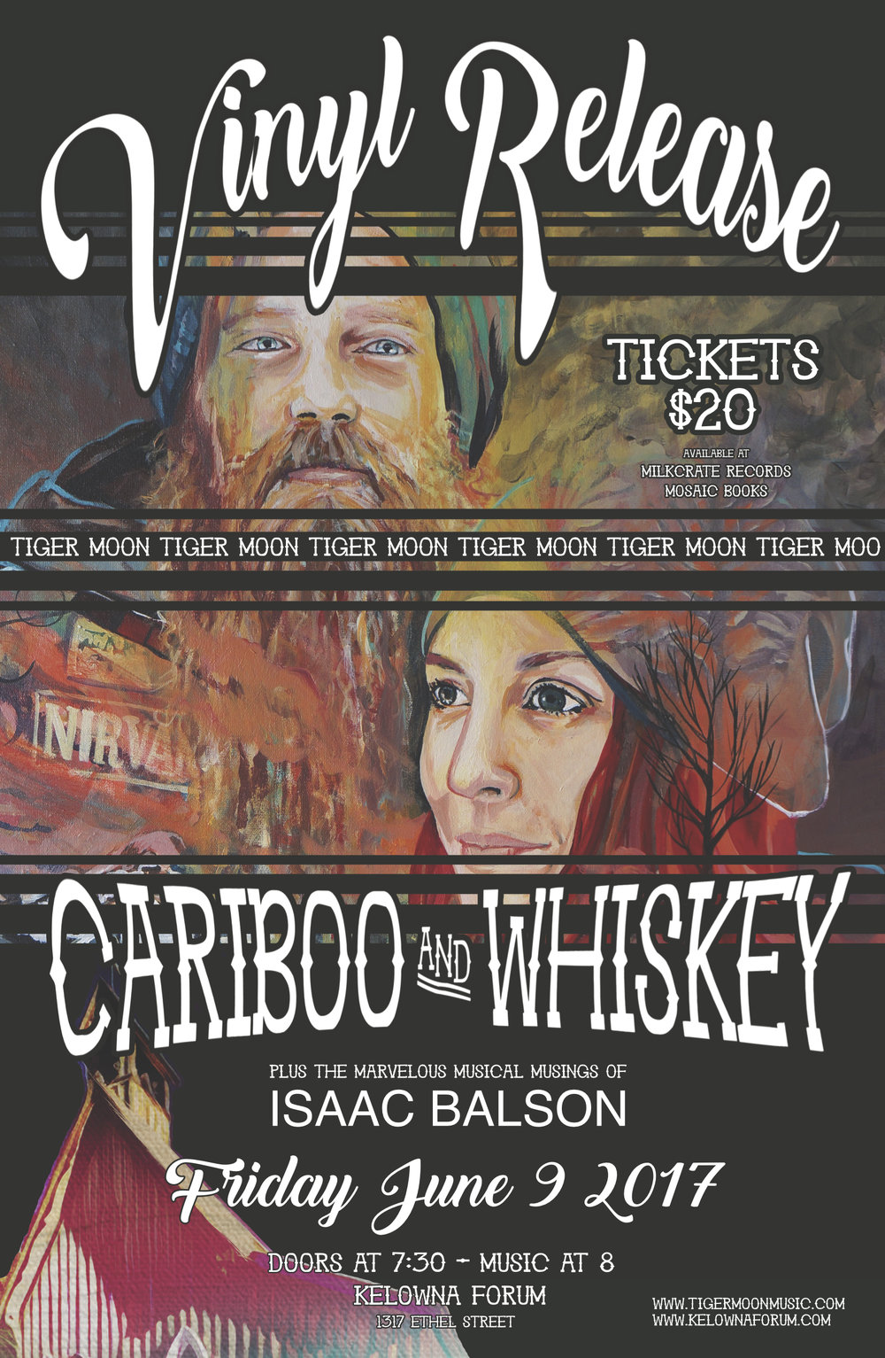 The Album Release Poster, featuring art by  Liz Ranney  - who also did all of our cover art and Cariboo & Whiskey merchandise art.
