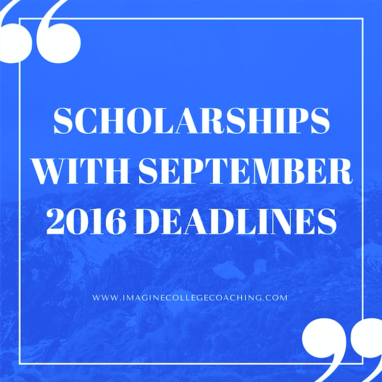 Scholarships with September 2016 Deadlines