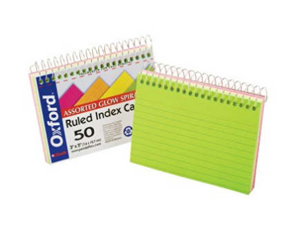 spiral index cards