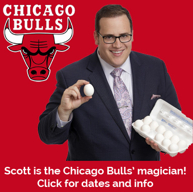 Scott Green is the Chicago Bulls' magician! See him perform magic for the Bulls' players on the Jumbotron all season at Chicago Bulls home games at the United Center. Click for game schedule and more information.