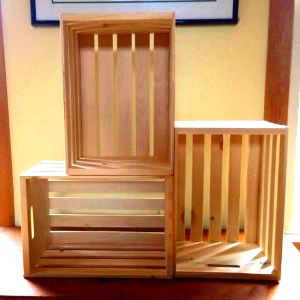 Try both horizontal and vertical placement of the wooden crates.