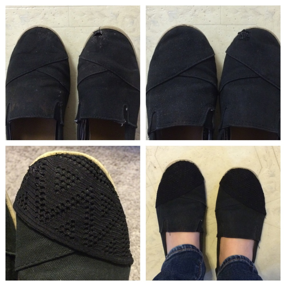 The steps from worn-out to stylish, a simple, cheap, and creative fix for my trusty off-brand black TOMS.