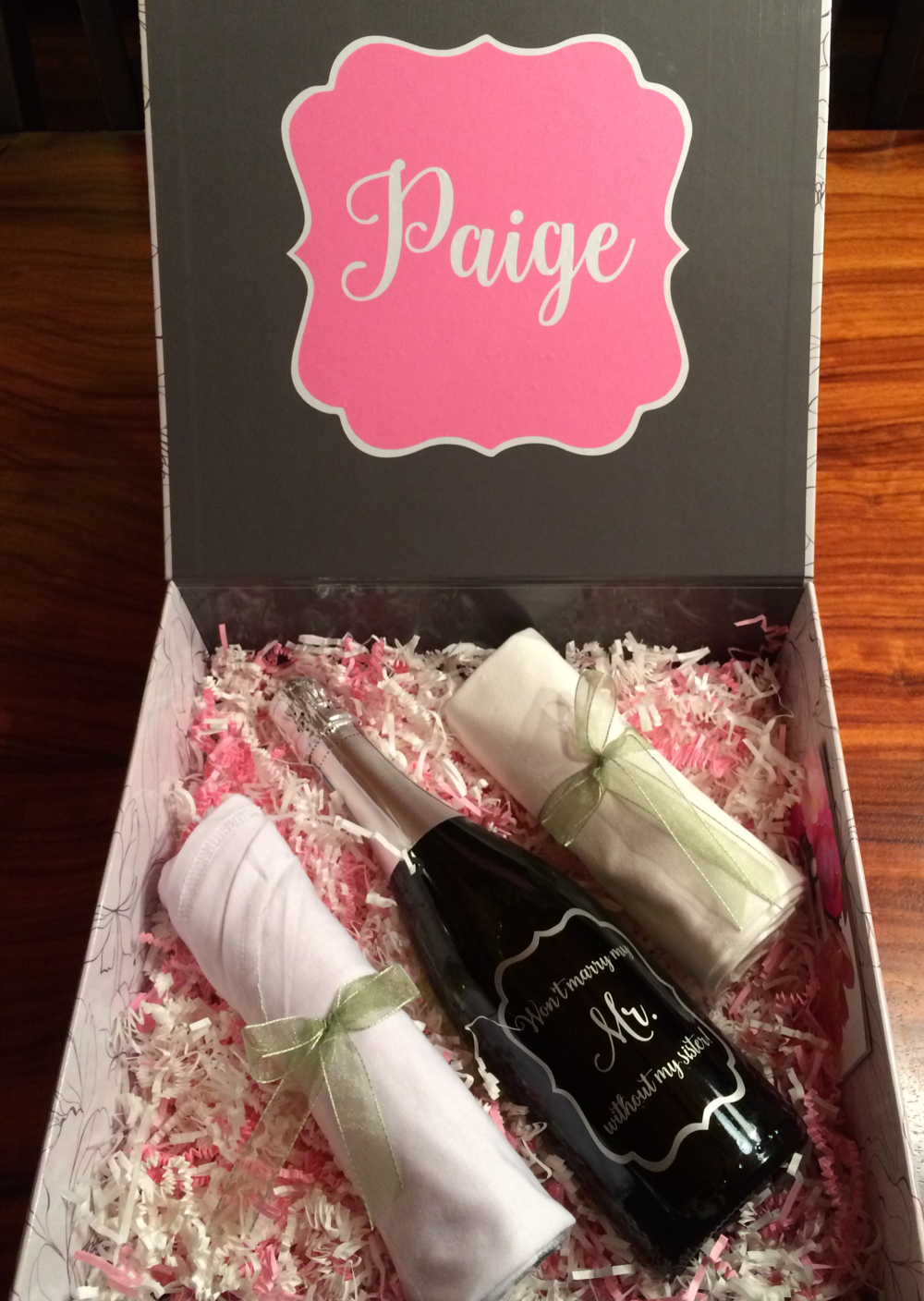 "A custom ""Maid of Honor"" gift box for Paige"