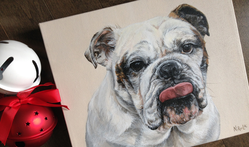 English Bulldog portrait painting.