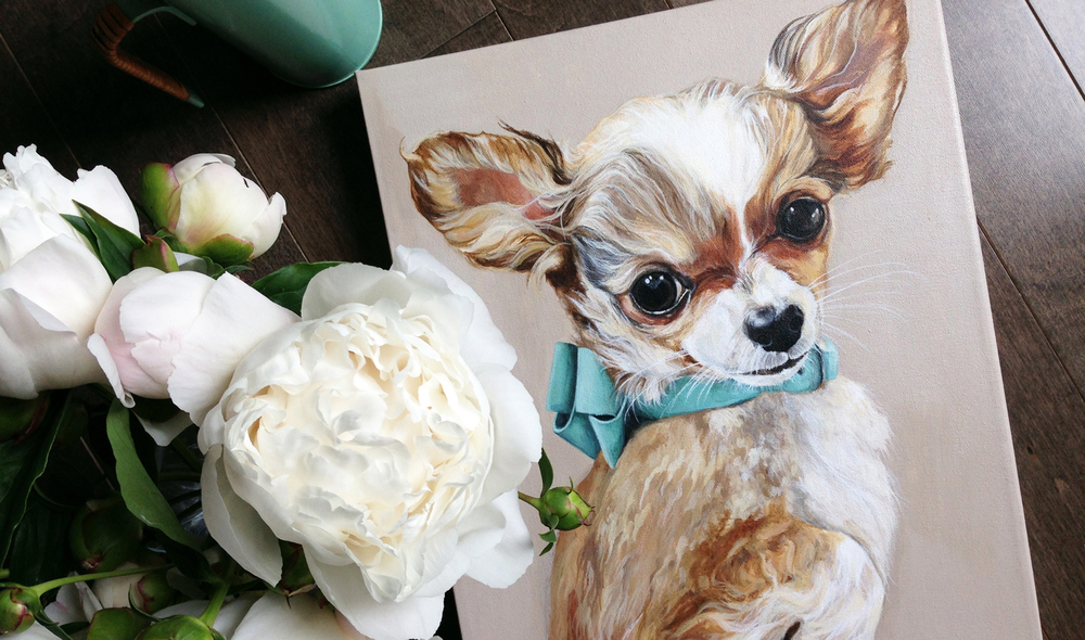 Chihuahua puppy portrait painting.