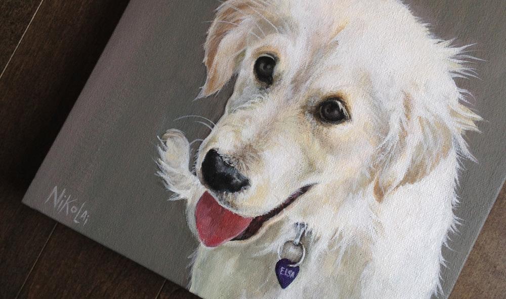 Golden Retriever puppy portrait painting.