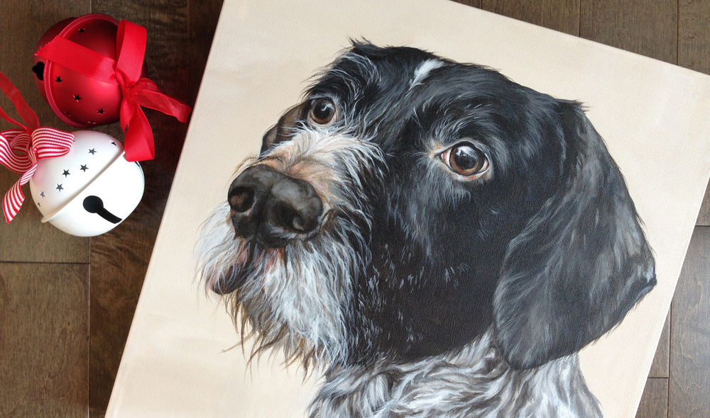 German Wire-haired Pointer portrait painting.
