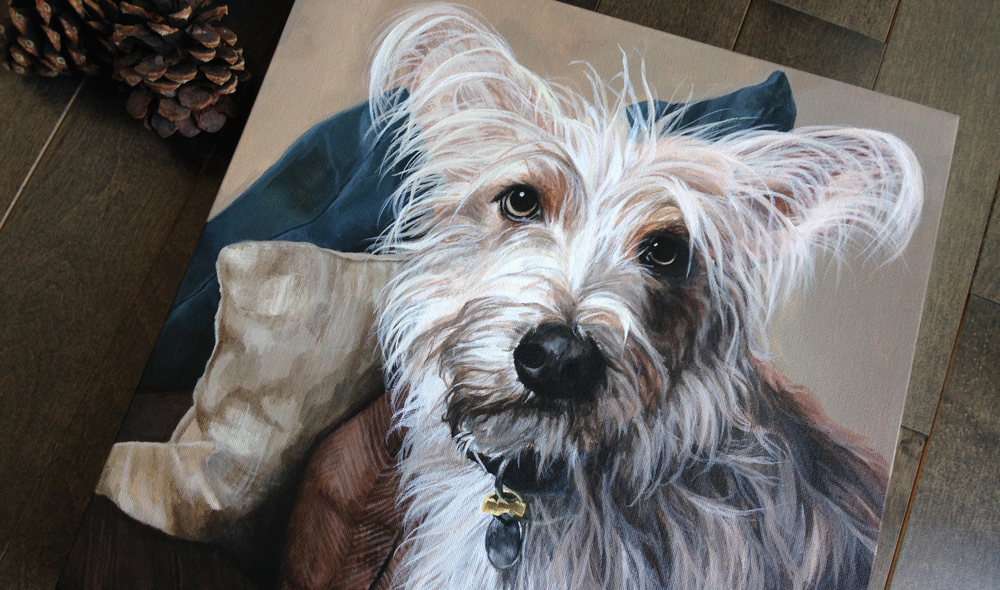 Mixed breed dog portrait painting.