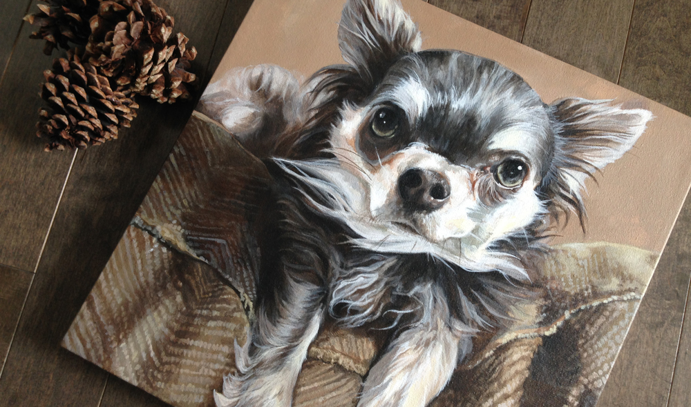 Chihuahua portrait painting.