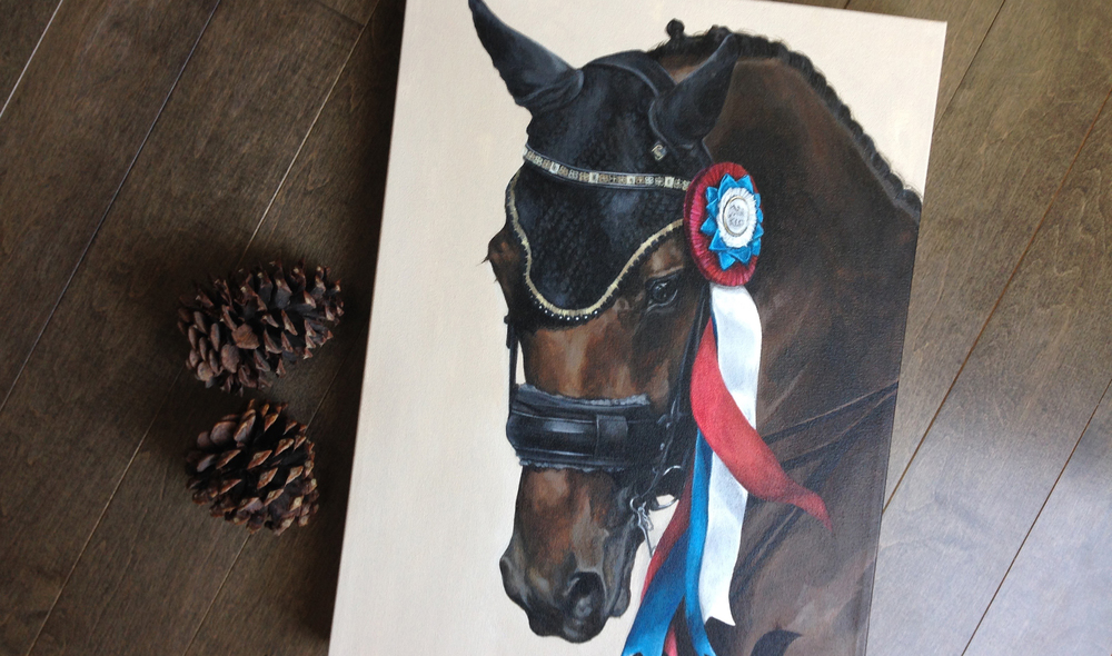 Warmblood portrait with Champion ribbon.
