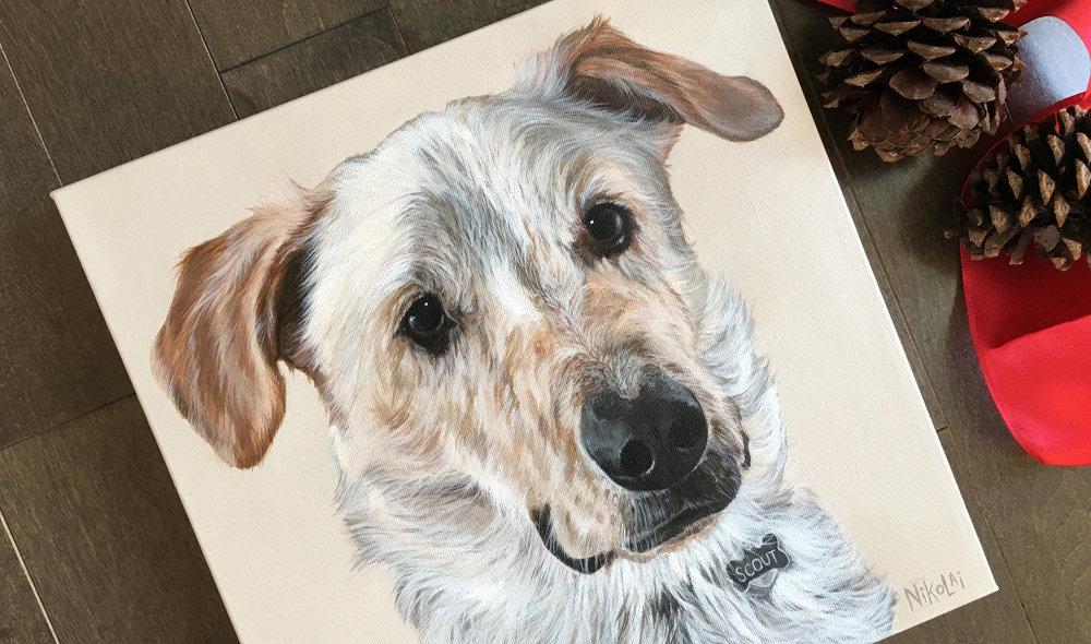 Scout (Australian Cattle Dog mix) portrait painting