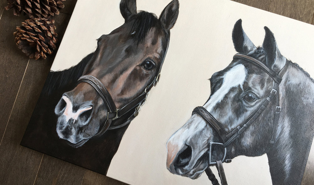 Benson and Chili (Warmbloods) portrait painting
