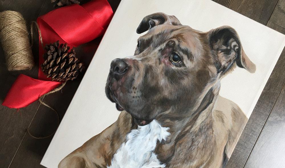 Scooby (Pitbull) portrait painting