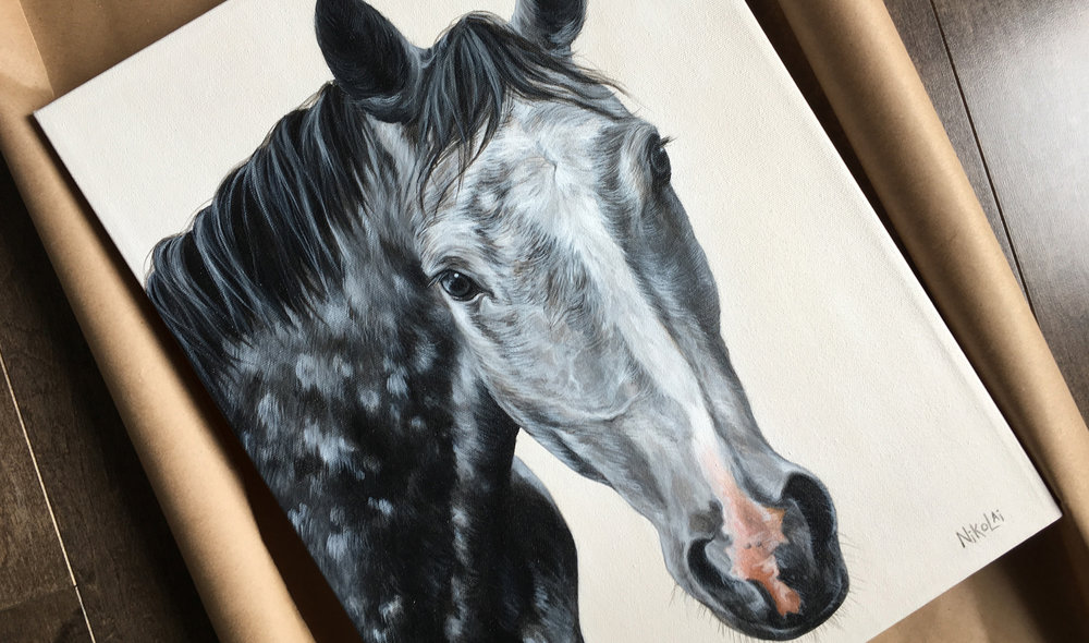 Ferrari K (Warmblood) portrait painting