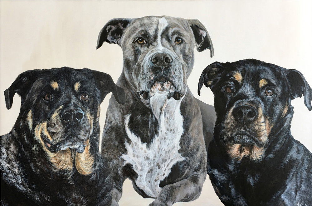 NYLA, KING + RUBY    Acrylic on gallery style canvas, 24 x 36   Mountainview, CA   SOLD