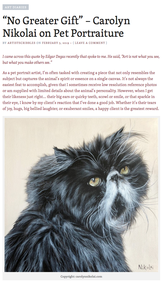 "artistscribbles | February 3, 2019 |   ""No Greater Gift"" – Carolyn Nikolai on Pet Portraiture"