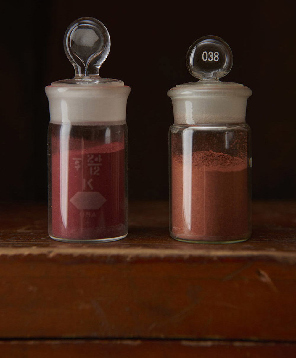 Left: Madder pigment. Right: ground madder root  rubia cordifolia .
