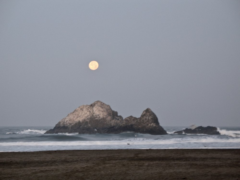 Moon setting over Seal Rocks at Kelly's Cove December 12, 2008