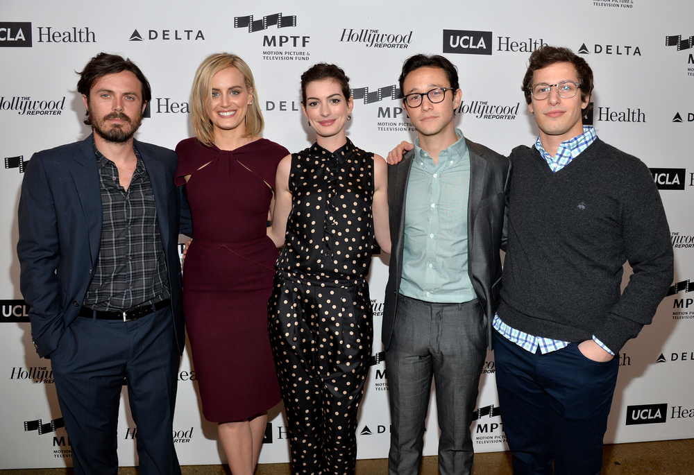 Presenters Casey Affleck, Taylor Schilling, Anne Hathaway, Joseph Gordon Levitt, and Andy Samberg at Reel Stories, Real Lives.