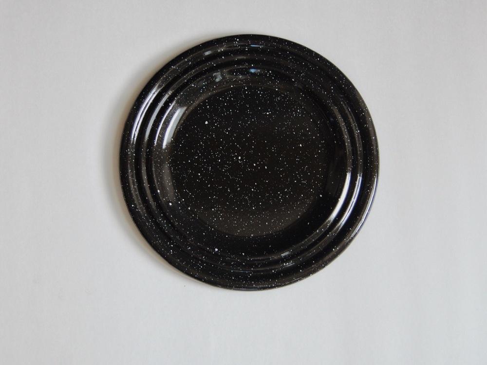 Vintage enamel black and white speckled c&ing dinner plates (set of 10) & Vintage enamel black and white speckled camping dinner plates (set ...
