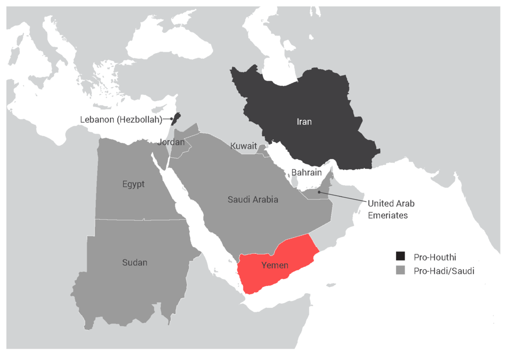 Yemen's civil war has escalated, with outside powers intervening militarily since 2015. Not shown are the U.S. and U.K., which provide military support to the Saudi-UAE coalition. The war has resulted in 14 million people (half of Yemen's population) facing starvation and the largest cholera outbreak in modern history, according to the U.N. and the WHO.