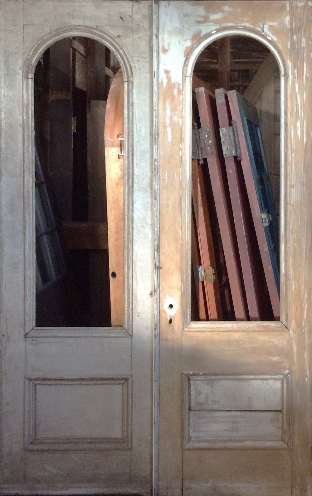 SOLD Pair Victorian Double Tombstone Entry Doors